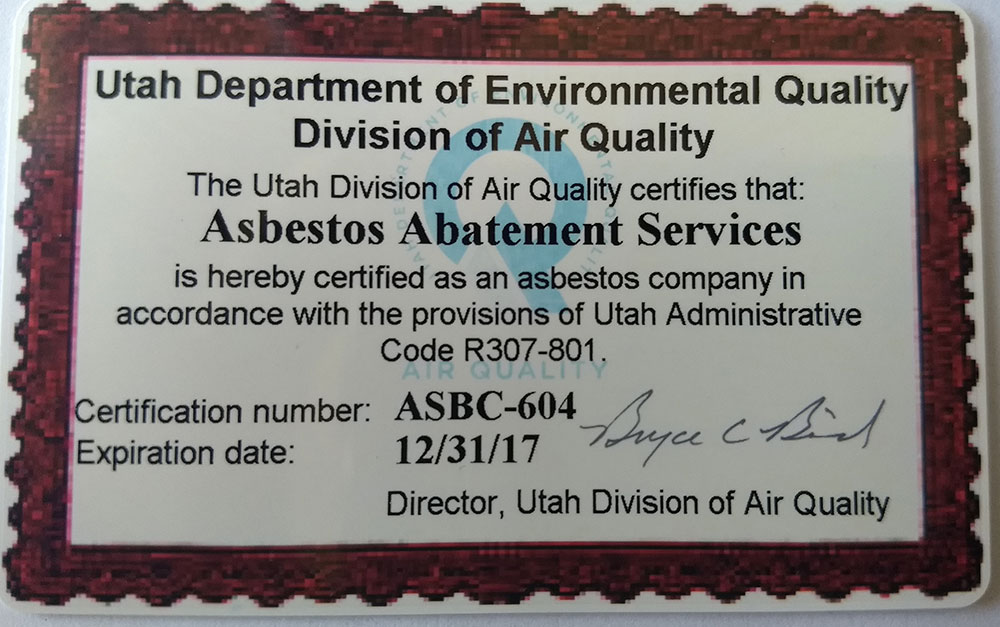 Utah Department of Environmental Quality certificate for Asbestos Abatement Services.