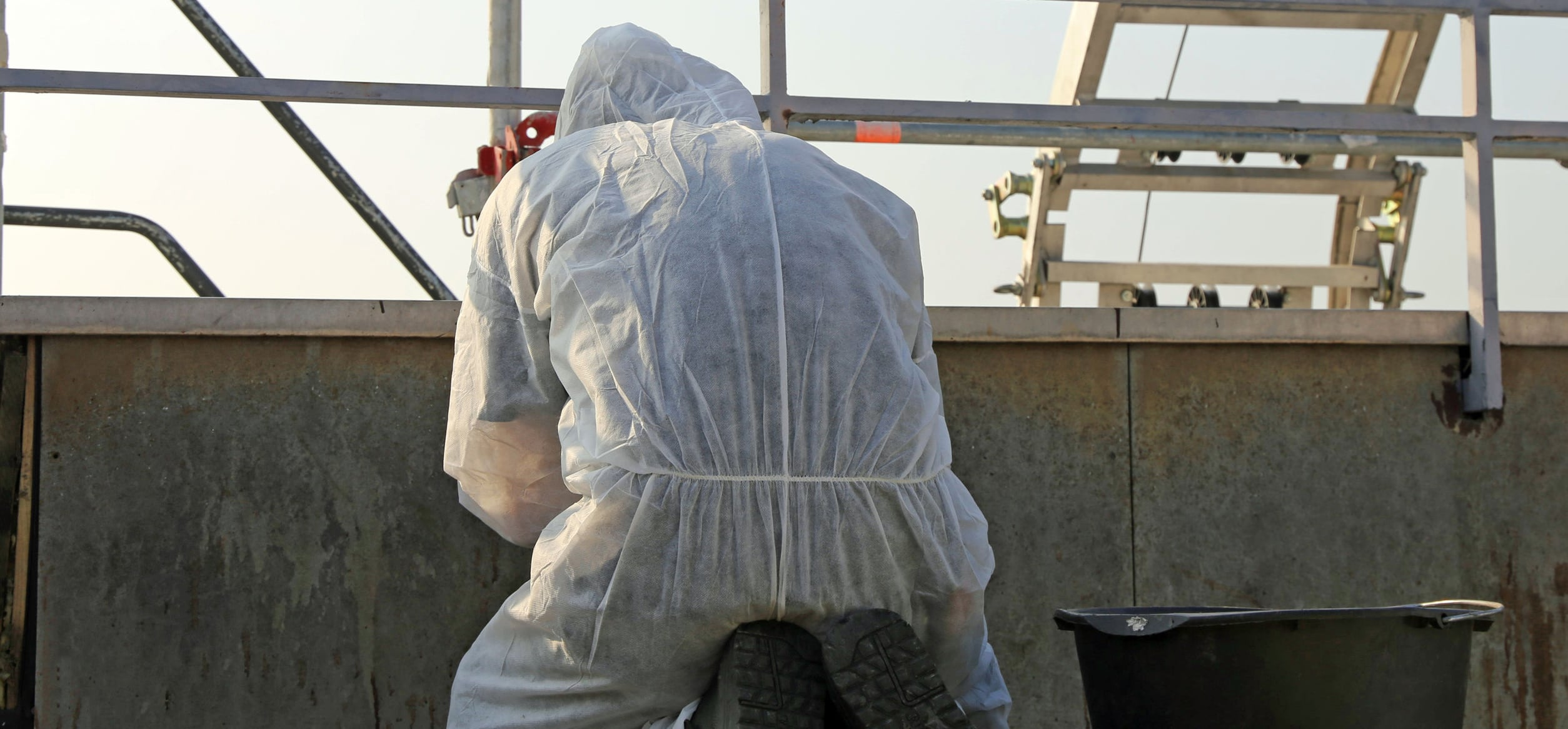 Asbestos abatement specialist on a job