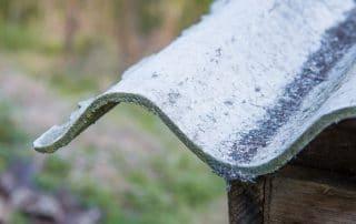 Closeup of asbestos roofing panel