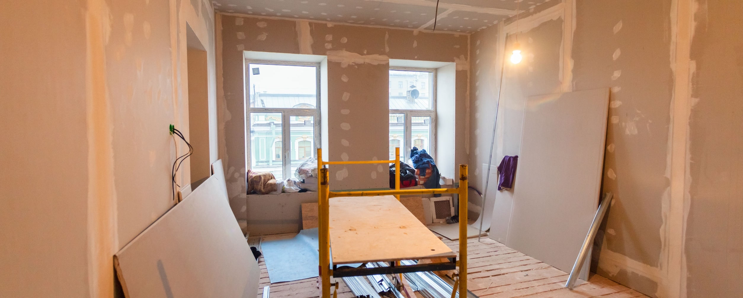 Construction materials in apartment undergoing remodeling