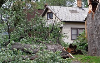 House damaged by strong winds in a storm