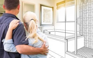 Couple Facing Bathroom Drawing Gradating To Remodeling Designs